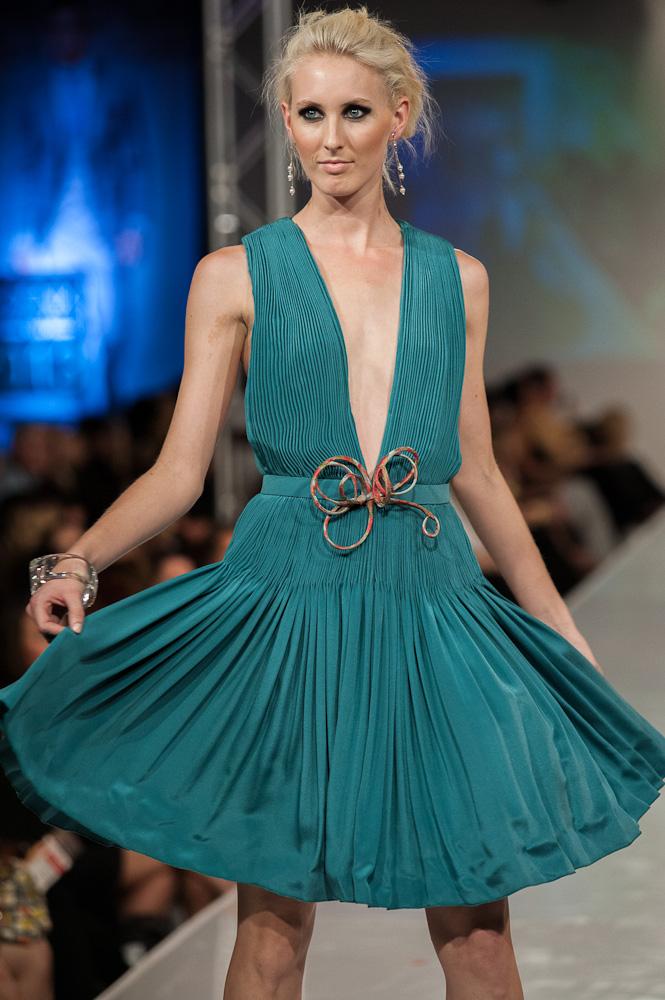Teal Dress Bradon McDonald Phoenix Fashion Week 2013 Project Runway Designer